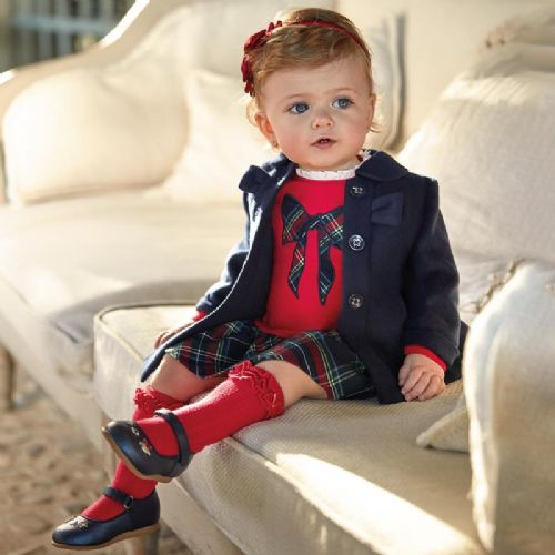 Combined Dress with Tartan Bow